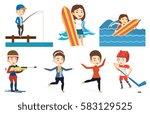 caucasian figure skater posing... | Shutterstock .eps vector #583129525