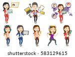 business woman pointing at the... | Shutterstock .eps vector #583129615