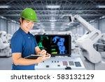 factory engineer is working...   Shutterstock . vector #583132129