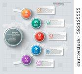 vector abstract 3d paper... | Shutterstock .eps vector #583135555