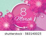 magenta paper cut flower. 8... | Shutterstock .eps vector #583140025