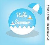 summer logo vector illustration.... | Shutterstock .eps vector #583141519
