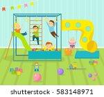kids playroom kindergarten with ... | Shutterstock .eps vector #583148971