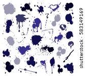 vector set of ink splashes... | Shutterstock .eps vector #583149169