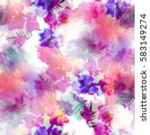 Stock photo seamless pattern with flowers and halftones elements stylized background with watercolor effect 583149274