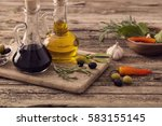 olive oil flavored with spices... | Shutterstock . vector #583155145