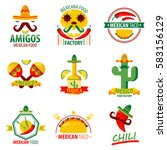 mexican food and drinks logo... | Shutterstock .eps vector #583156129