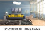 interior with sofa. 3d... | Shutterstock . vector #583156321