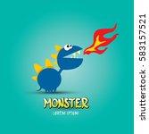 vector cartoon funny blue... | Shutterstock .eps vector #583157521