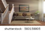 interior with sofa. 3d... | Shutterstock . vector #583158805