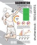 badminton infographic vector.... | Shutterstock .eps vector #583160551