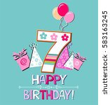 happy birthday card.... | Shutterstock .eps vector #583163245