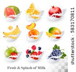 big collection icons of fruit... | Shutterstock .eps vector #583170811
