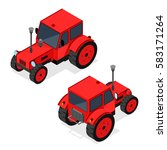 red farm tractor set for work... | Shutterstock . vector #583171264