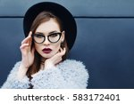 young beautiful fashionable... | Shutterstock . vector #583172401