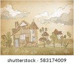 child hand drawing retro...   Shutterstock .eps vector #583174009