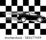 checkered flag and car. | Shutterstock .eps vector #583177459