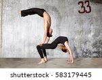 young couple of modern ballet... | Shutterstock . vector #583179445