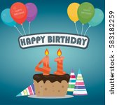 41th birthday cake and...   Shutterstock .eps vector #583182259