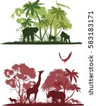 wildlife african silhouettes of