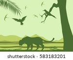 green vector silhouettes of...   Shutterstock .eps vector #583183201
