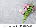 Fresh Pink Tulip Flowers And...