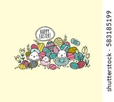 happy easter words with lots of ... | Shutterstock .eps vector #583185199