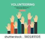 raised hands volunteering...   Shutterstock .eps vector #583185535