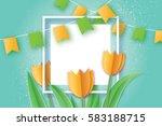 yellow tulips. paper cut flower.... | Shutterstock .eps vector #583188715