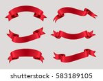 Vector red ribbons.Ribbon banner set.  | Shutterstock vector #583189105
