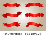 vector red ribbons.ribbon... | Shutterstock .eps vector #583189129