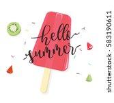 hello summer with fruit... | Shutterstock .eps vector #583190611