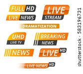 vector tv news banner interface ... | Shutterstock .eps vector #583196731