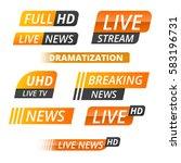 vector tv news banner interface ... | Shutterstock .eps vector #583196731