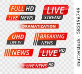 vector tv news banner interface ... | Shutterstock .eps vector #583196749