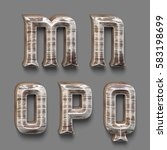 3d rendered font set with wood...   Shutterstock . vector #583198699