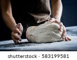 making dough by female hands at ... | Shutterstock . vector #583199581