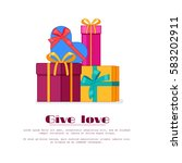 bright colorful wrapped gift... | Shutterstock .eps vector #583202911