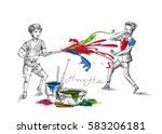 boys playing holi  hand drawn... | Shutterstock .eps vector #583206181