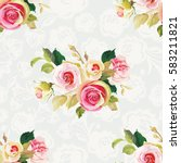 seamless floral pattern with... | Shutterstock .eps vector #583211821