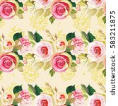 seamless floral pattern with... | Shutterstock .eps vector #583211875