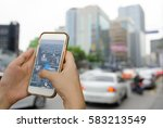 using mobile smart phone search ... | Shutterstock . vector #583213549