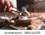 decorating turkish dessert with ... | Shutterstock . vector #583216255