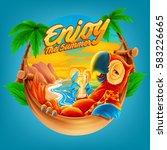 enjoy the summer | Shutterstock .eps vector #583226665