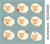 set of funny little sheep in... | Shutterstock .eps vector #583230685
