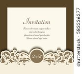 cutout paper frame with floral... | Shutterstock .eps vector #583236277