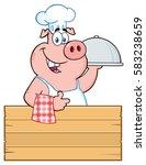 happy chef pig cartoon mascot... | Shutterstock .eps vector #583238659