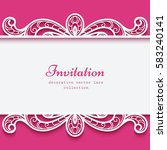 swirly vector frame with lace... | Shutterstock .eps vector #583240141