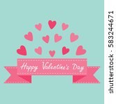 flying pink heart and dash line ... | Shutterstock . vector #583244671
