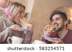 happy loving couple enjoying... | Shutterstock . vector #583254571